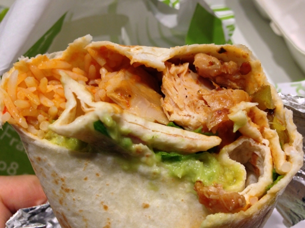 chicken burrito at poncho no 8