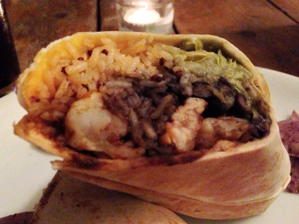 king prawn burrito at santo