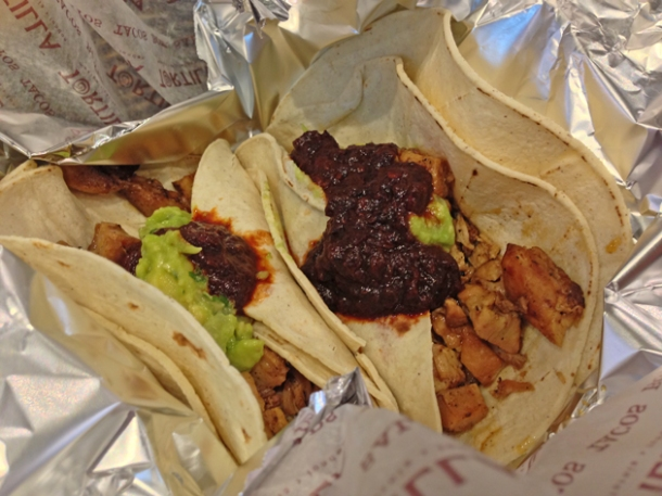 chicken tacos at tortilla