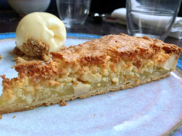 almond tart with almond ice cream at newman street tavern
