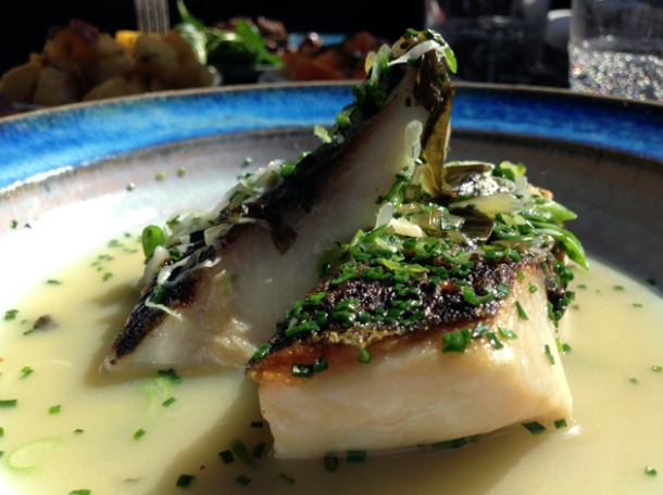 grey mullet in garlic broth at newman street tavern