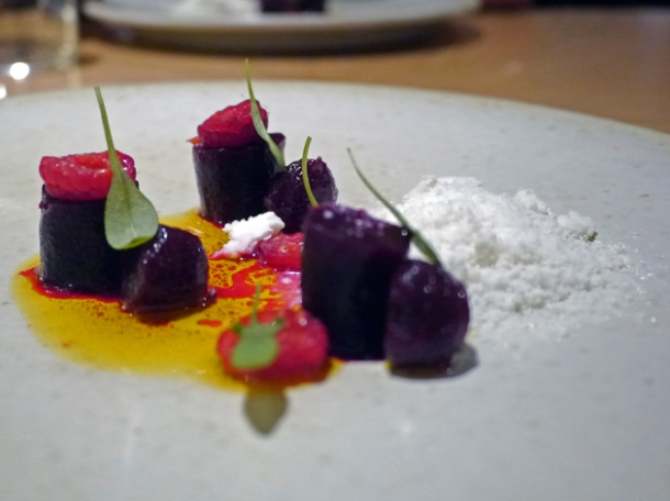 raspberry, beetroot and horseradish snow at story