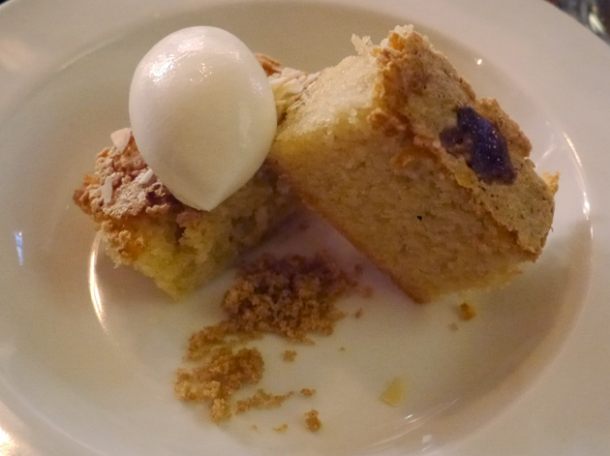 almond tart with yoghurt ice cream at pizarro