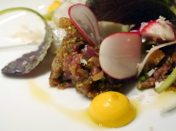 smoked steak tartare at social eating house