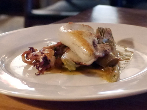 squid and sauteed artichokes at pizarro