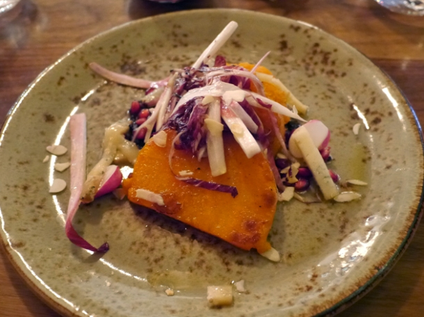 sweet potato with pomegrante and blue cheese at pizarro