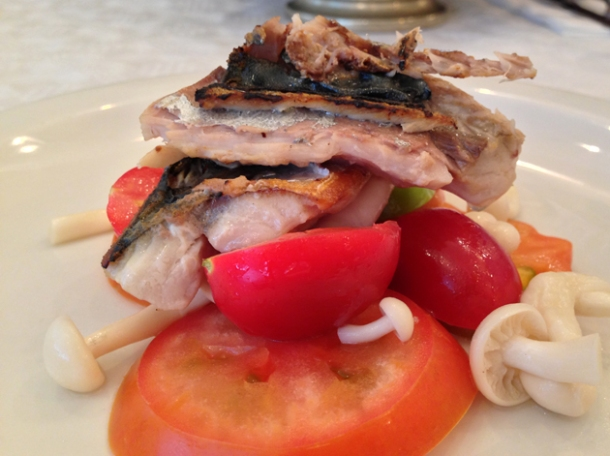 grilled mackerel with tomatoes and pickled mushrooms at bonnie gull