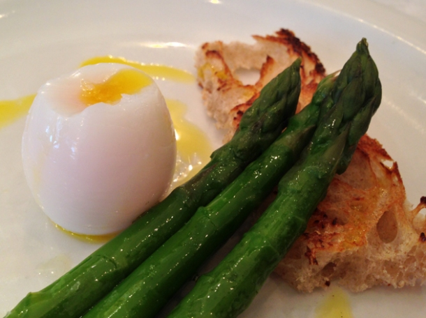 gull's egg with asparagus at bonnie gull