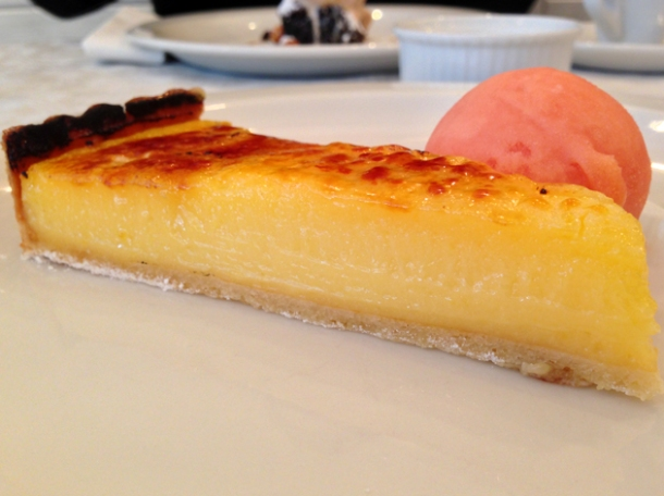 lemon curd tart with blood orange sorbet at bonnie gull