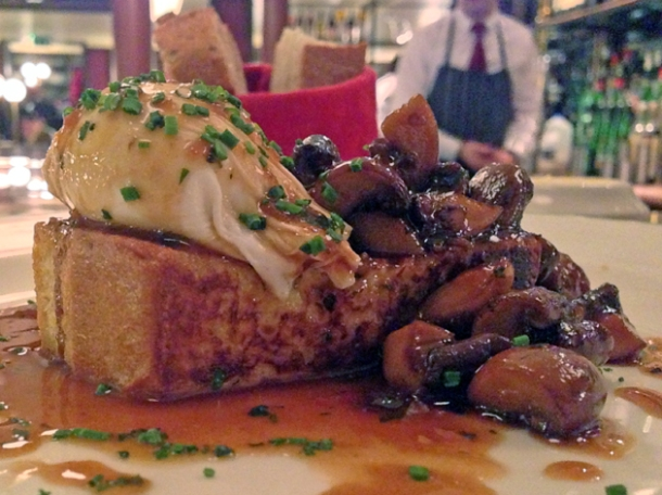 mushrooms and a poached egg on toasted brioche at les deux salons
