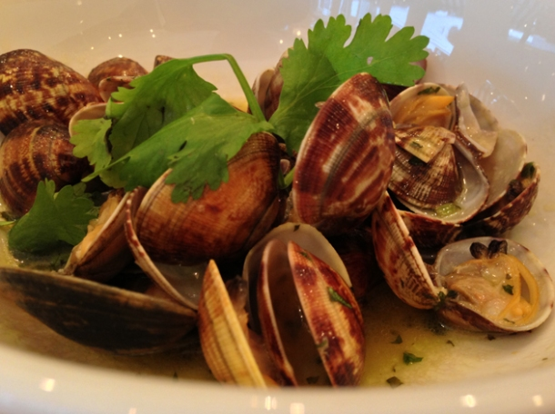 palourde clams 'bulhao al pato' with roast spring garlic and coriander at bonnie gull
