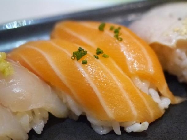 salmon nigiri sushi at inamo piccadilly