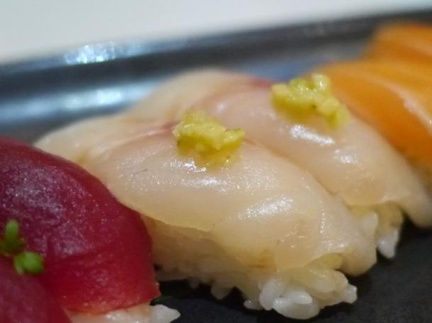 sea bass nigiri sushi at inamo piccadilly