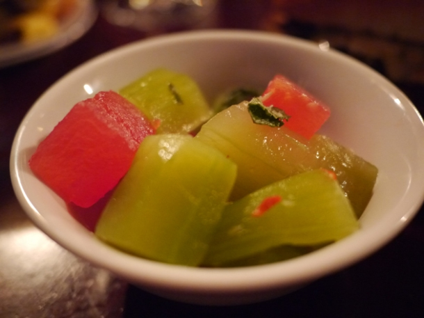 smashed cucumber and watermelon at hawksmoor spitalfields bar