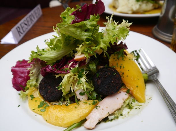 smoked chicken, mango and black pudding salad at the lukin