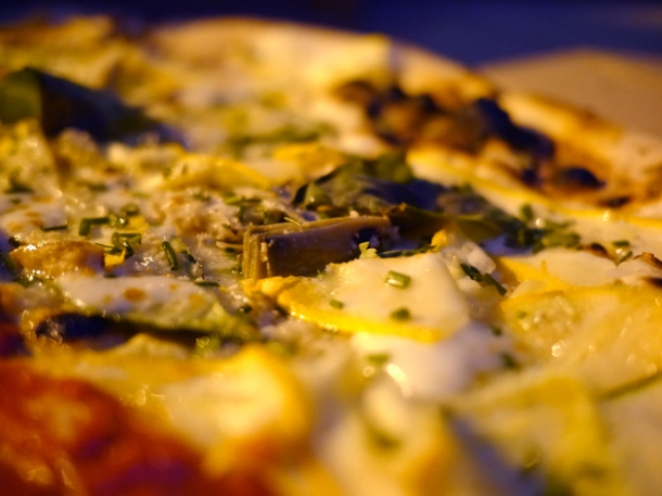 artichoke and courgette pizza at homeslice
