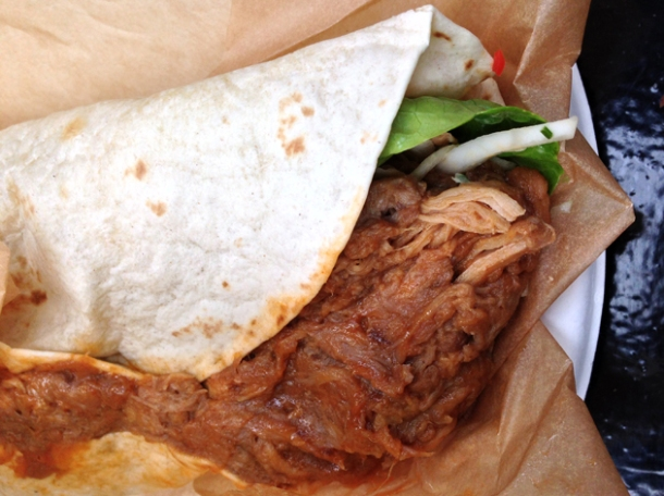 Asian pulled pork wrap at the joint