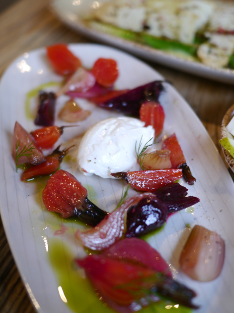 beetroot, pickled onions and goat labneh at grain store king's cross