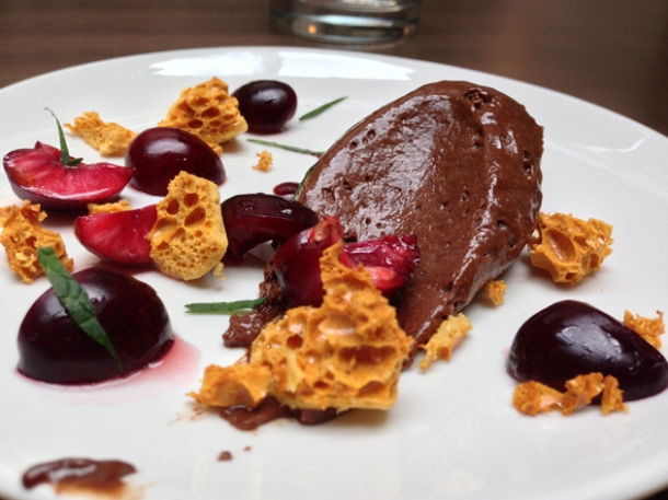 chocolate mousse with cherries and honeycomb at picture great portland street