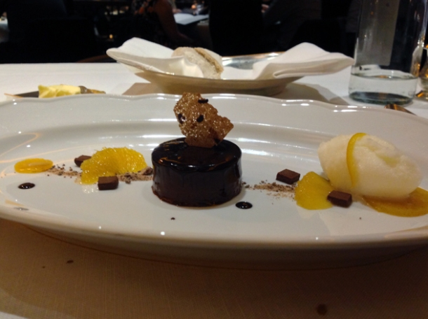 chocolate orange dessert at blue boar