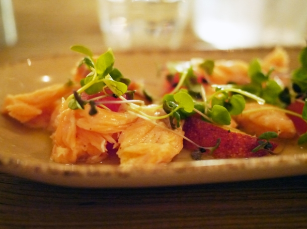 confit salmon with salted watermelon and peaches at grain store granary square