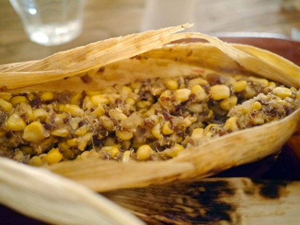 corn and quinoa tamales at grain store granary square