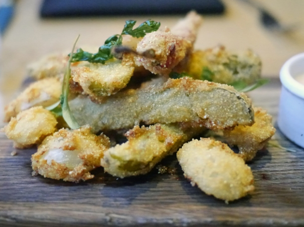 deep fried pickles at barbecoa