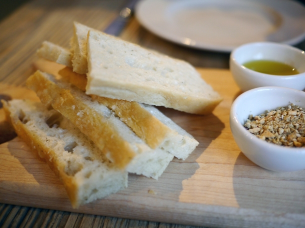 focaccia with dukkah and olive oil dip at grain store king's cross