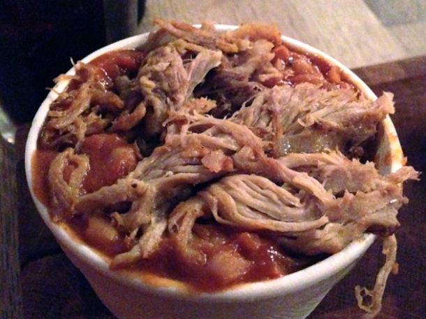 pulled pork beans at red dog saloon