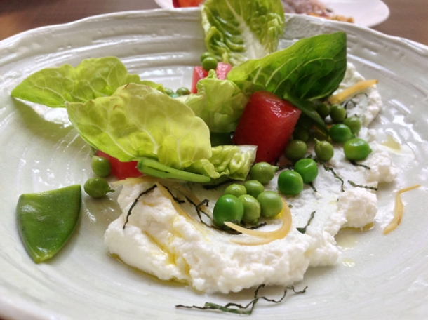 pea salad with goat's curd and watermelon at picture great portland street