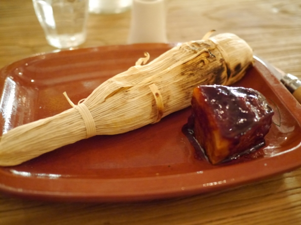 pork belly with tamales at grain store king's cross