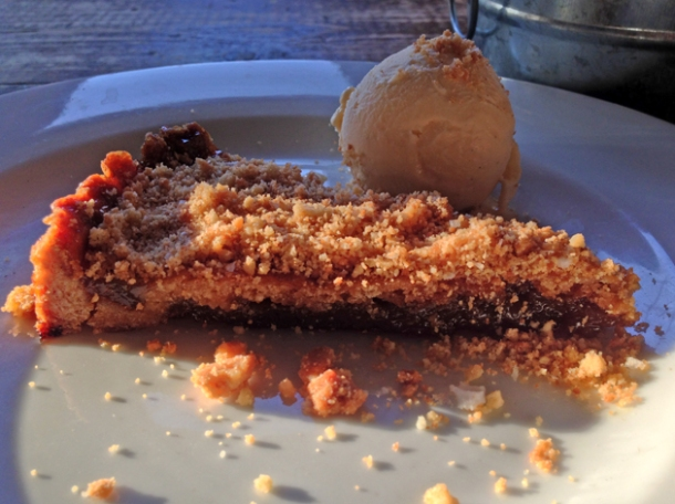 shoofly pie with ice cream at duke's