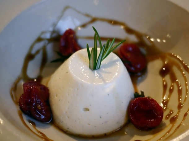 spiced candied tomatoes and goat's milk panna cotta at grain store king's cross
