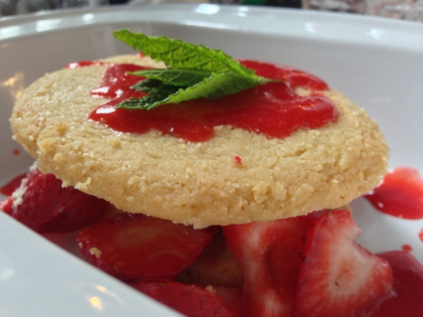 strawberry shortbread biscuits with cream and mint at meatlover