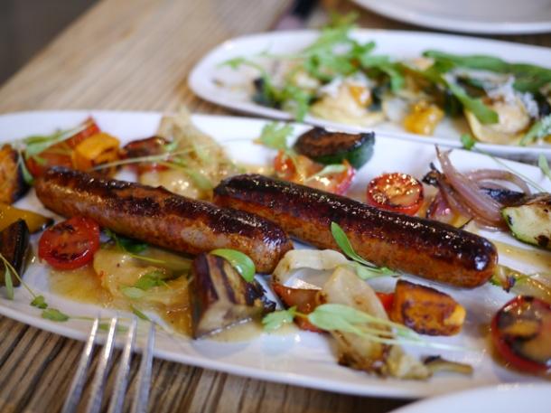 vegetarian merguez sausages at grain store king's cross