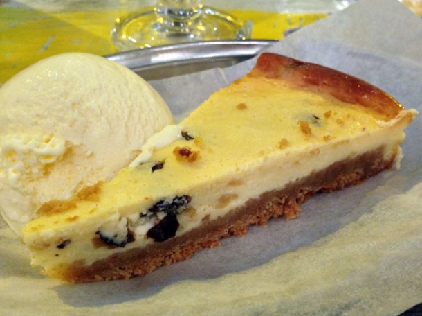rum and raisin cheesecake at rub slow food diner
