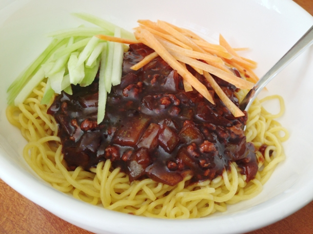noodles with soy bean paste at oriental dragon