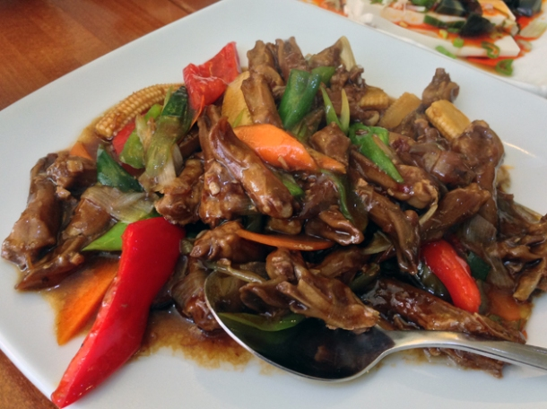 duck tongues in xo sauce at oriental dragon