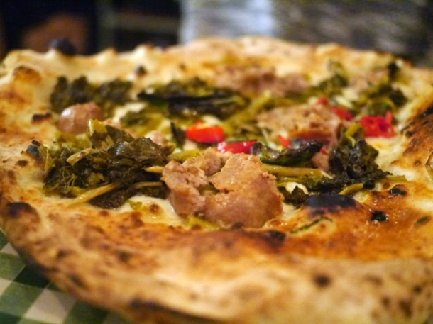 fennel sausage and broccoli pizza at pizza pilgrims
