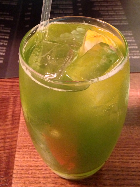 shiso and tarragon soda at flesh and buns