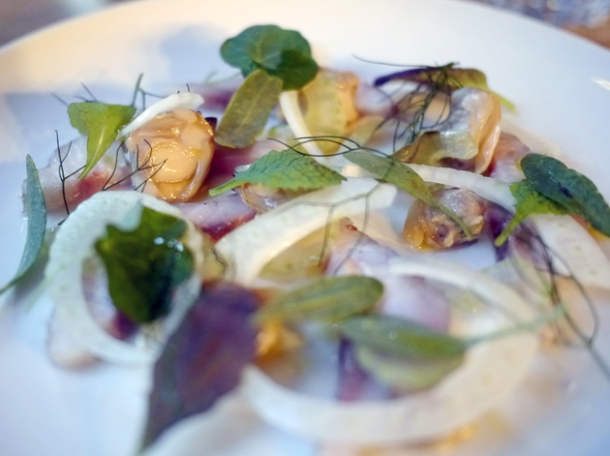 smoked mullet with pickled clams and sea purslane at smokehouse