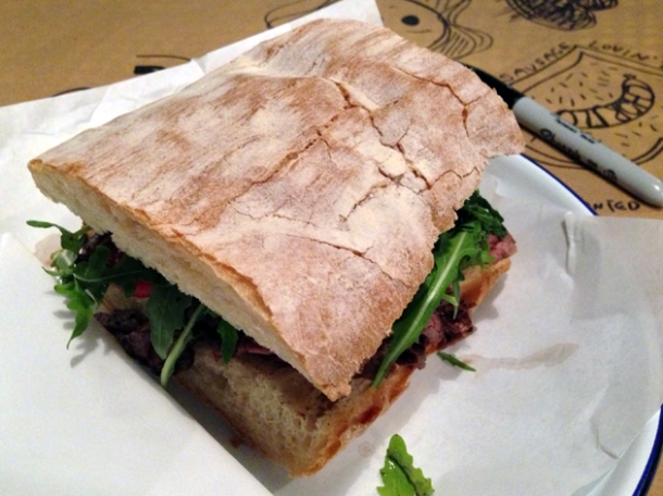 steak ciabatta at mamita que chorizo
