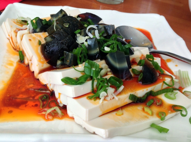 tofu with preserved eggs at oriental dragon