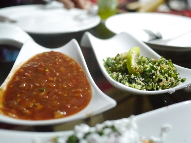chopped parsley and tabbouleh salad and salsa at deeritna