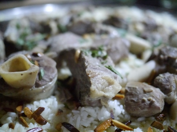 close up of mansaf at deeritna