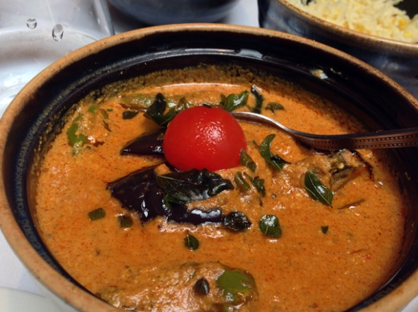 eggplant curry at the red fort