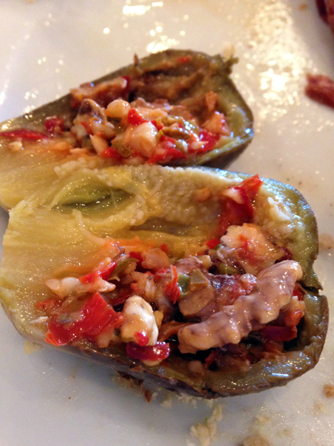 pickled aubergine stuffed with walnuts for breakfast at marina plaza