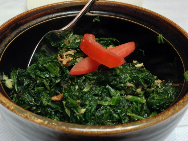 sauteed spinach at the red fort