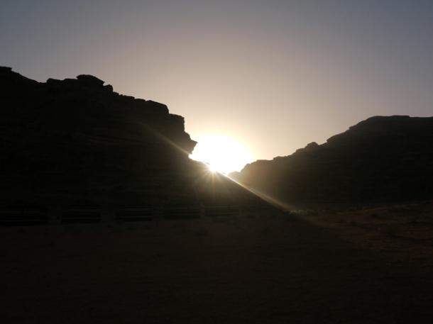 jordan desert sun rise