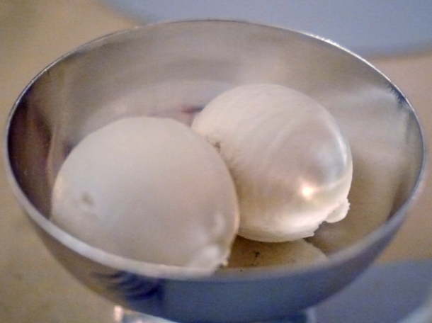 almond sorbet at berners tavern